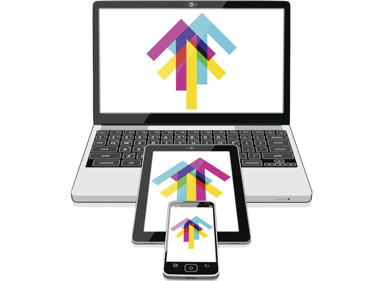 Illustration of computer, tablet, and smart phone with sharing arrows on the screens