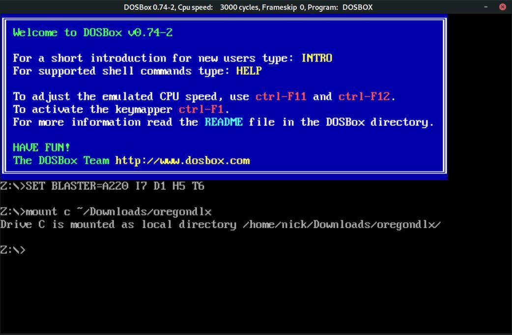Mount game folder in DOSBox