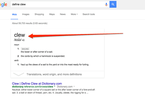 Clew definition shown in Google infobox dictionary