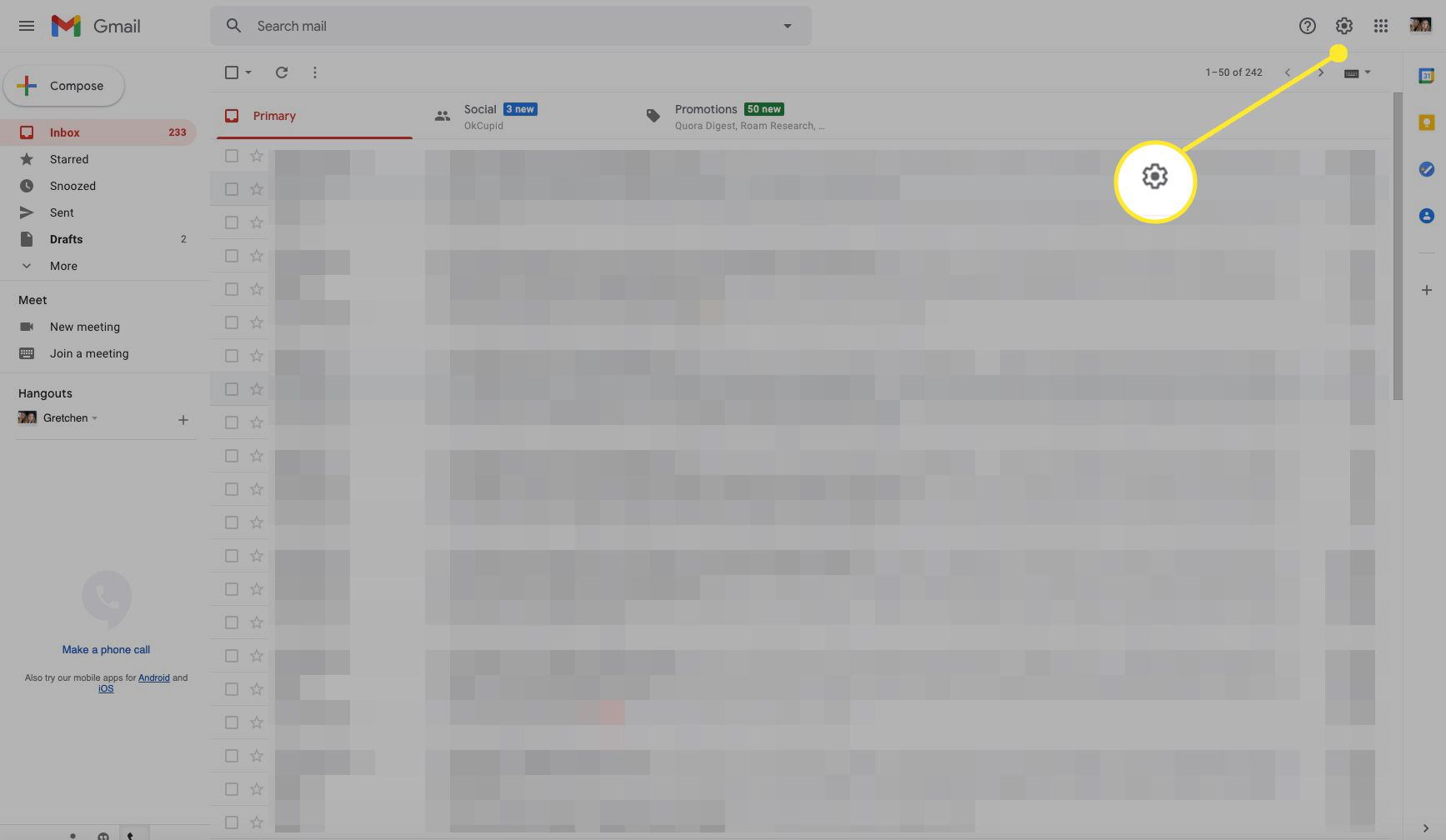 Gmail inbox screen with Settings (gear icon) highlighted
