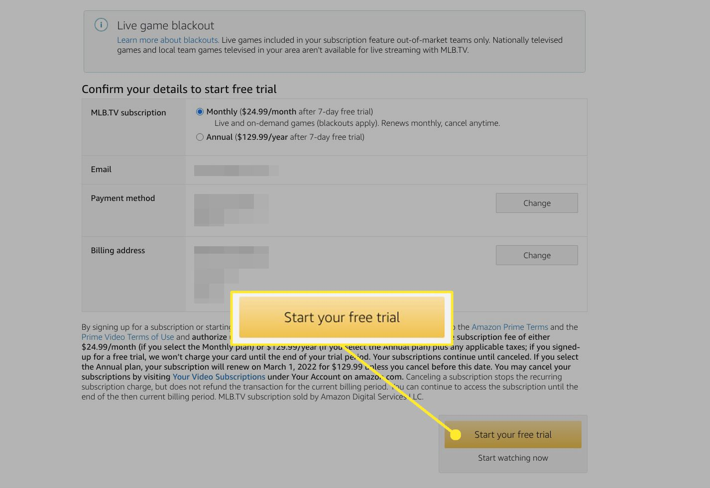 Amazon Prime Video channel subscription page with Start your free trial highlighted