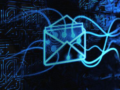 Illustration showing electric blue lines routing into an envelope, symbolizing email