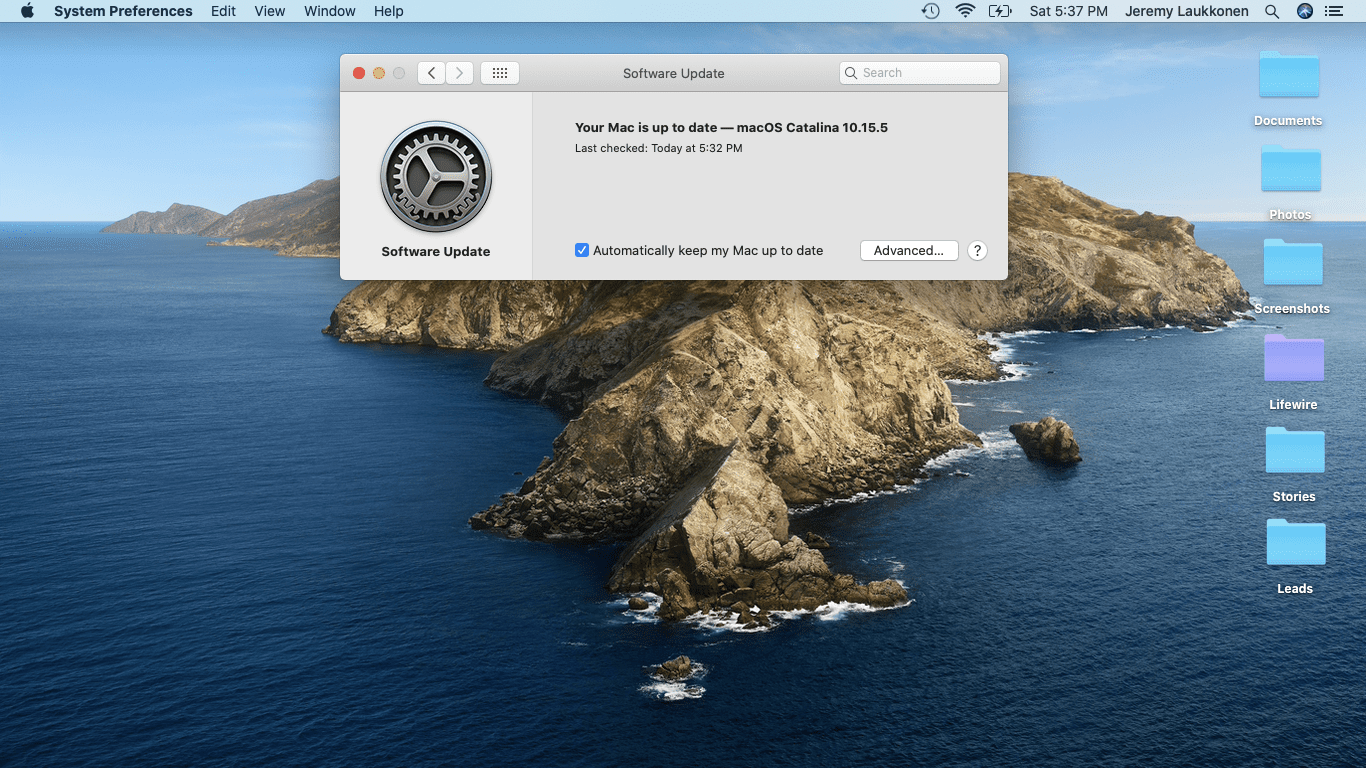 A screenshot of the software update check on macOS.
