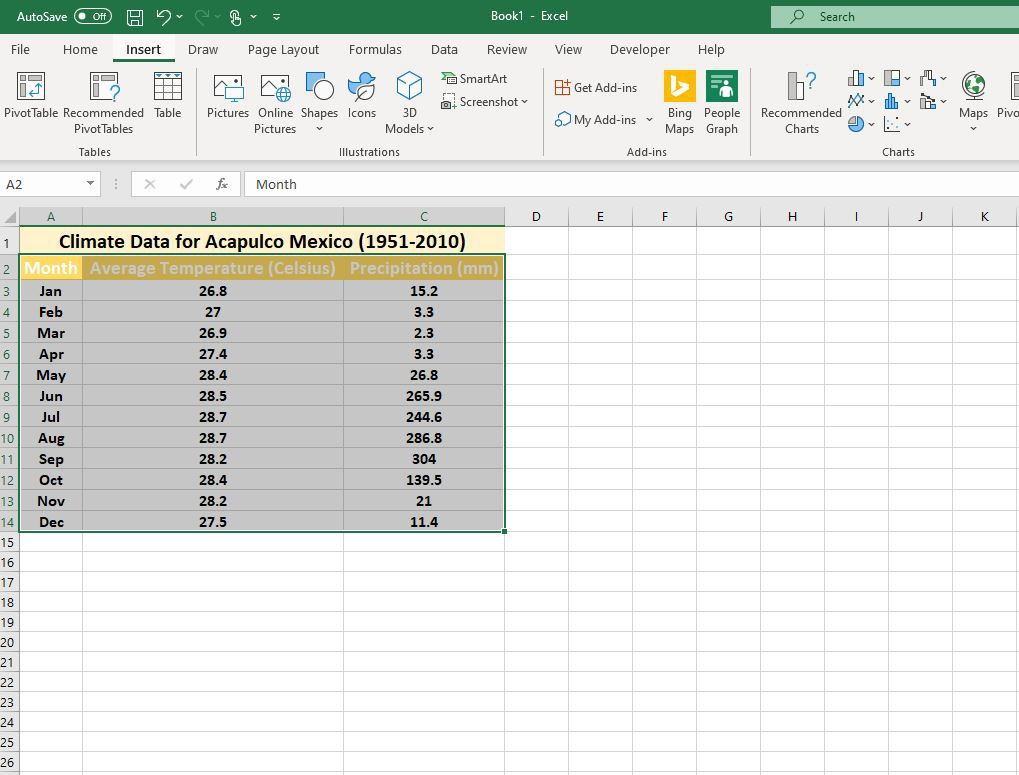Insert tab selected in Excel