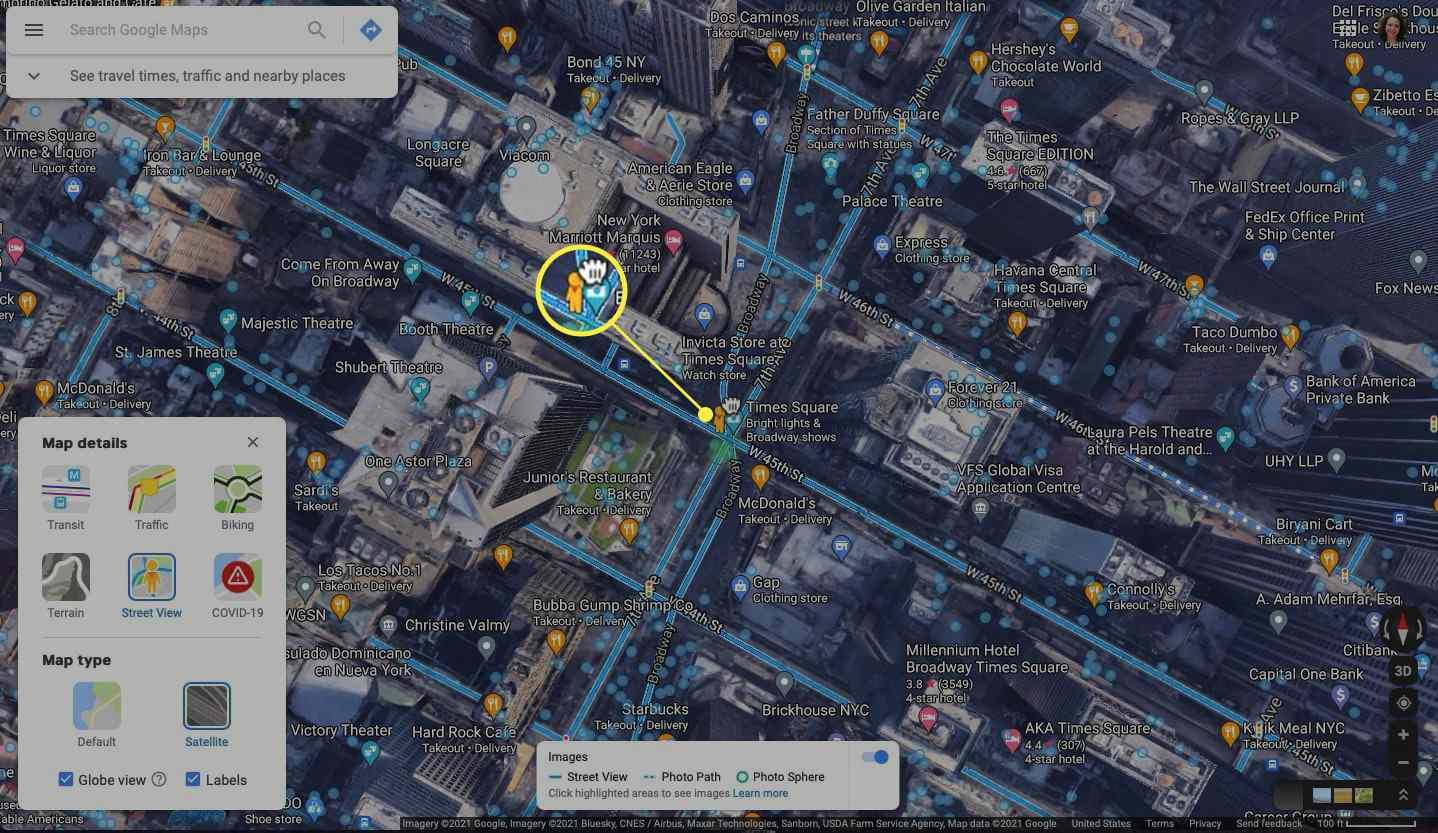 Pegman highlighted on a Google Map