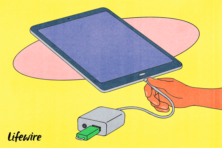 Illustration of an iPad connected to a USB drive via an adapter