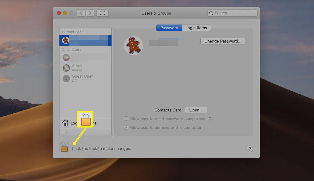 Users & Groups lock icon to edit user permissions on macOS