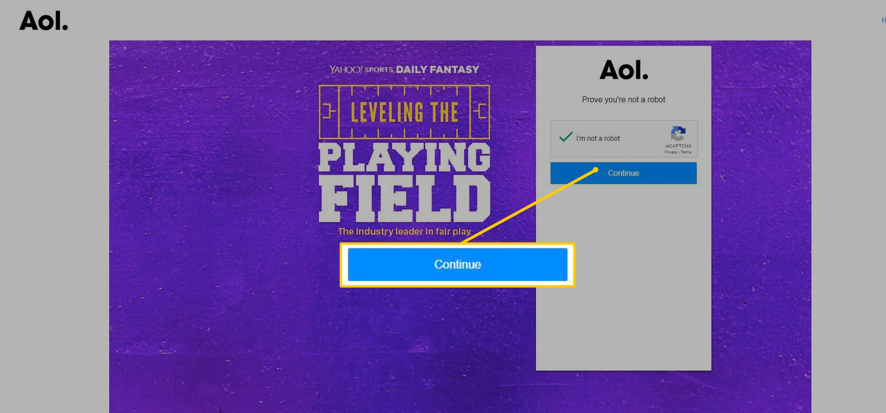 Continue button after sign in on AOL