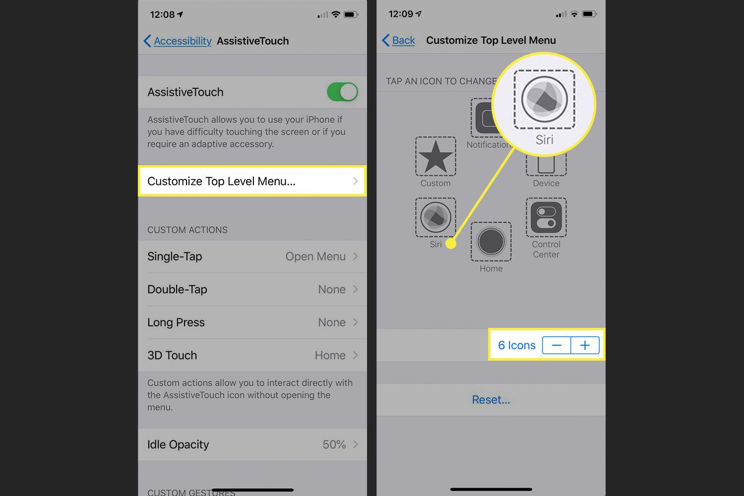 Screenshots of iPhone AssistiveTouch settings with the Customize, Icons, and command highlighted