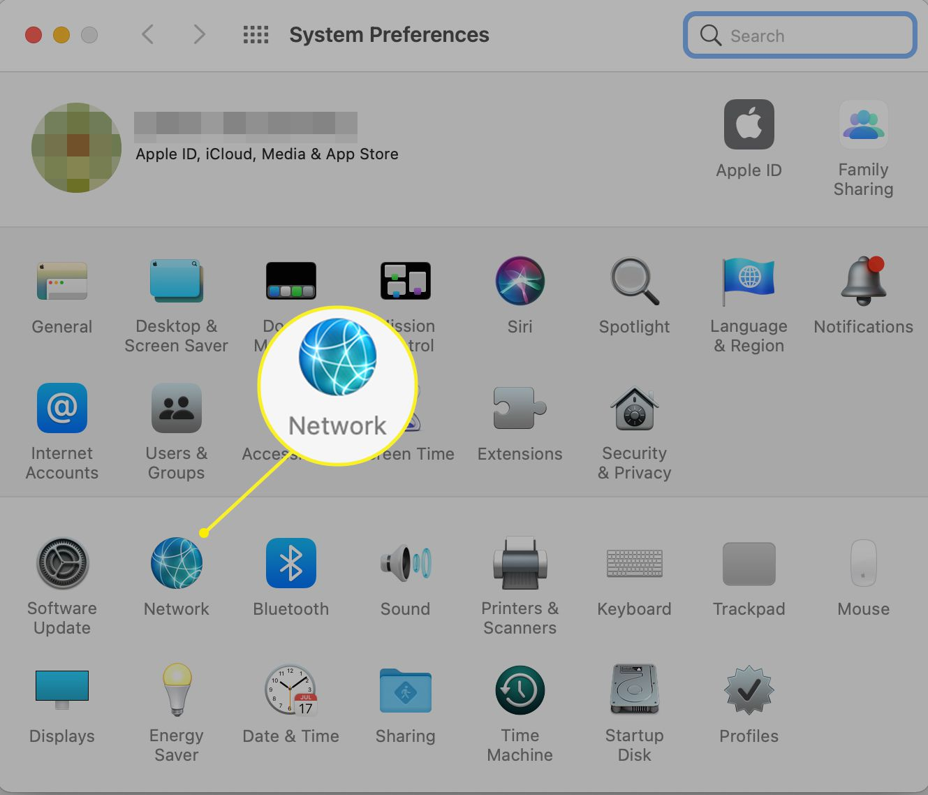 Mac System Preferences with Network highlighted
