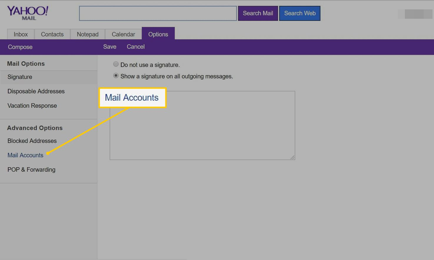 Mail Accounts link in Yahoo Mail on the web