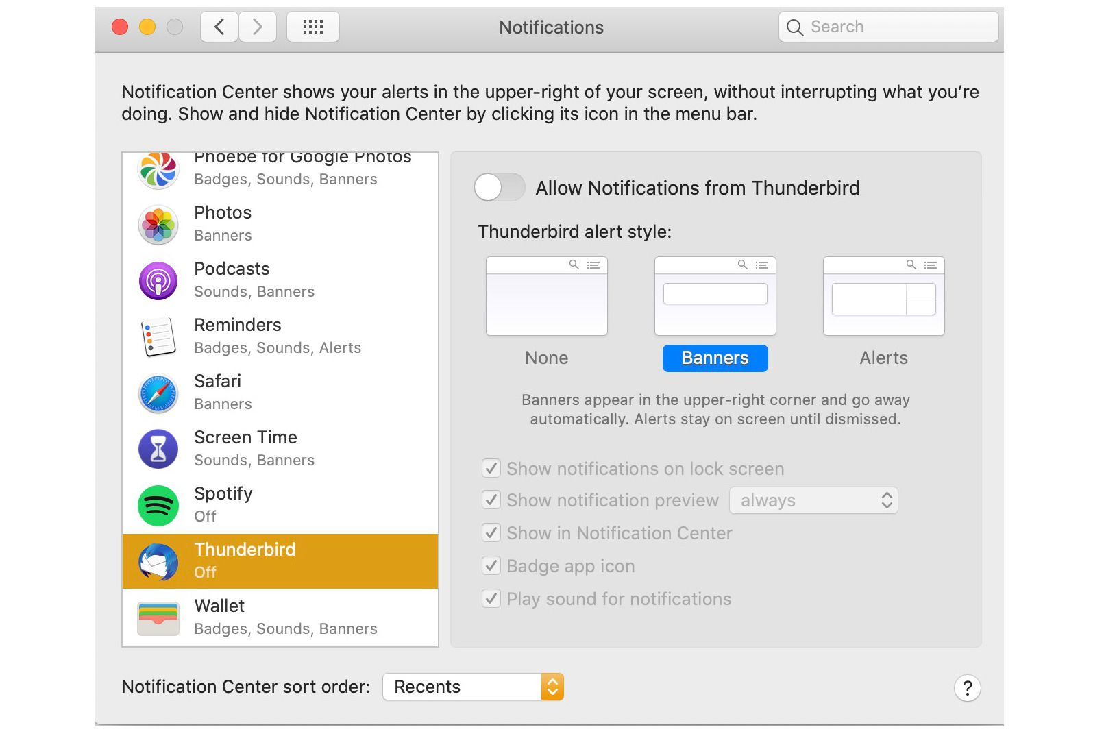 macOS System Preferences > Notifications