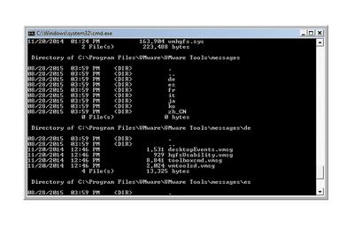 Screenshot of the Dir Command in Windows Vista