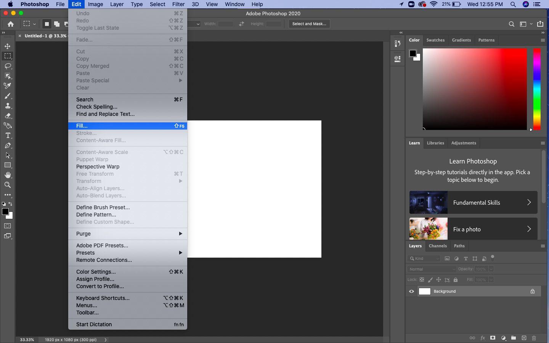 From the top menu, select Edit > Fill.