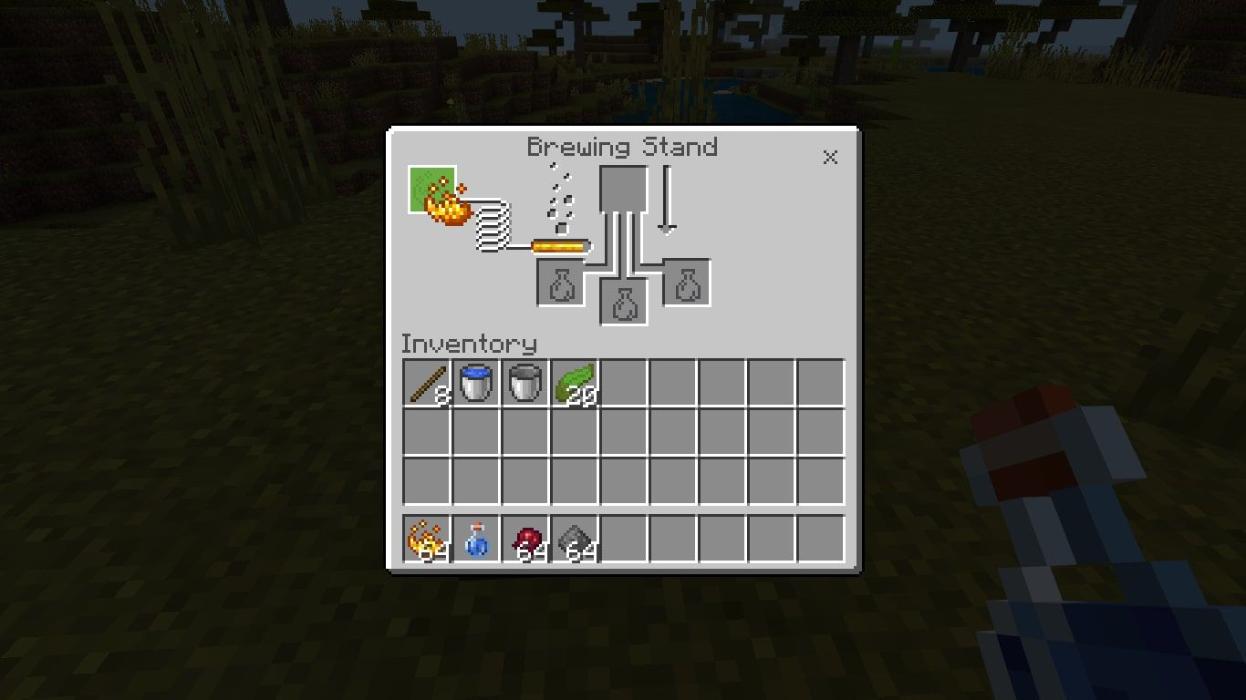 Add Blaze Powder to the far left box to activate the Brewing Stand.