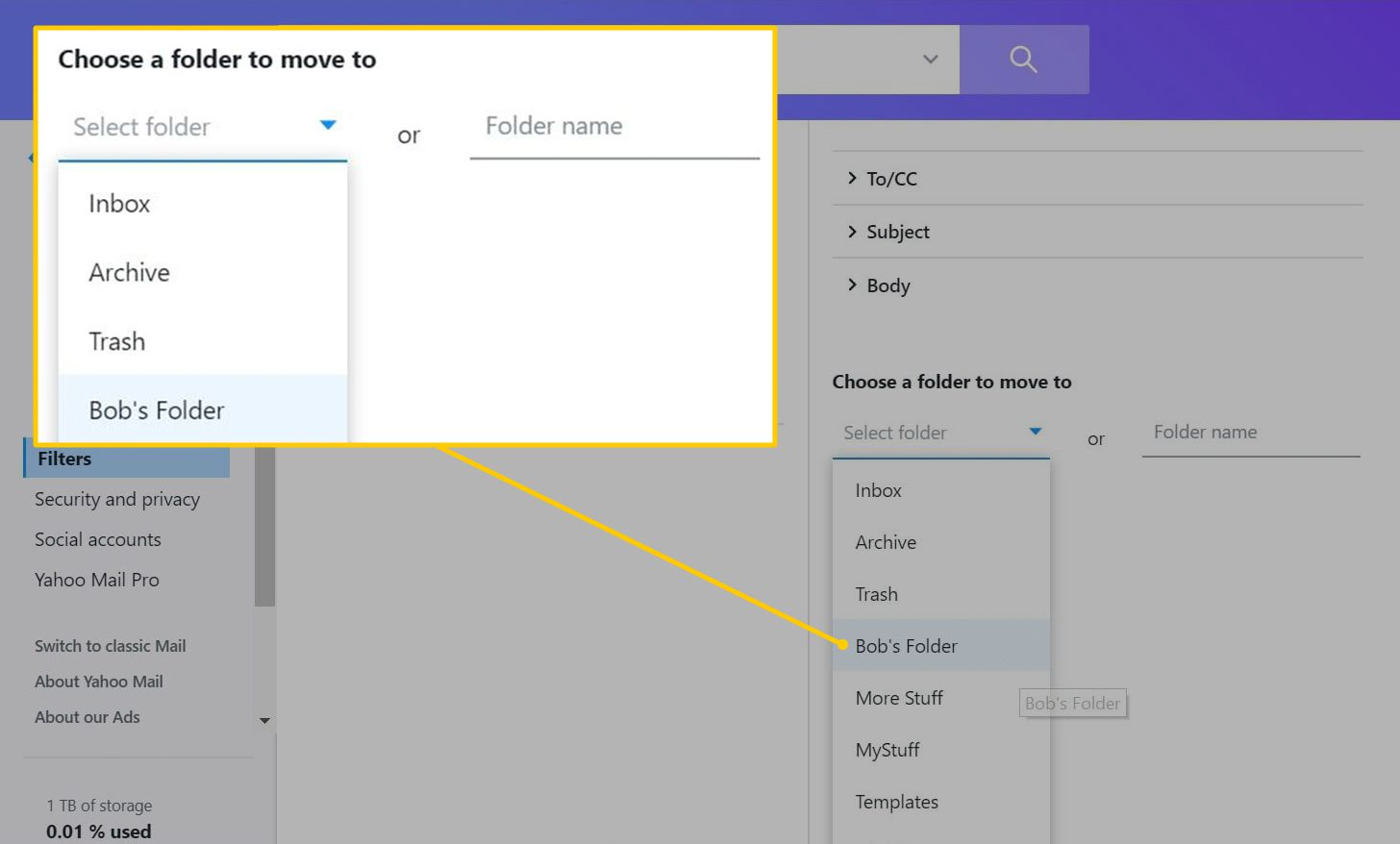 Choose a folder to move to section in Yahoo filters