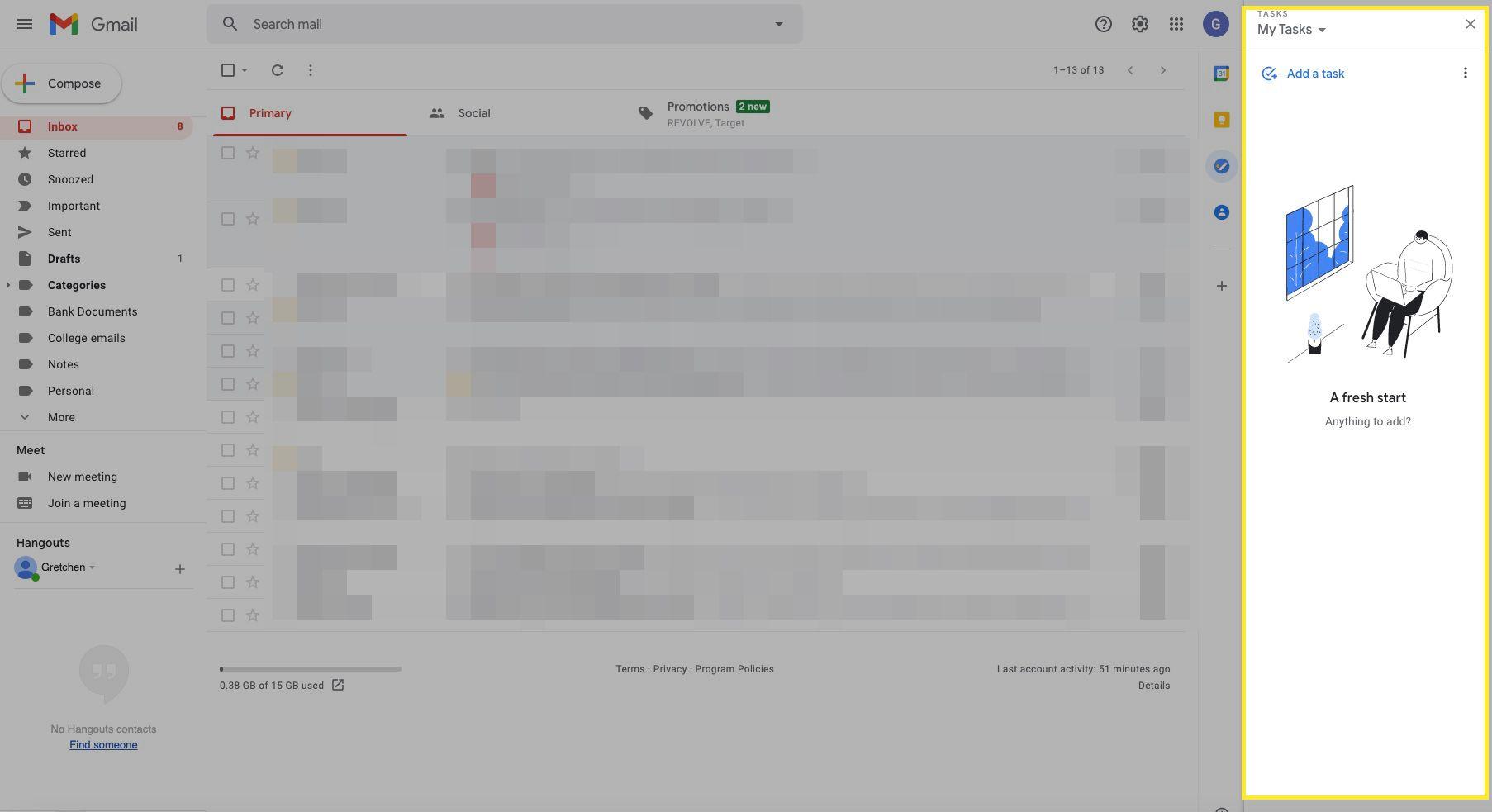 Gmail tasks screen