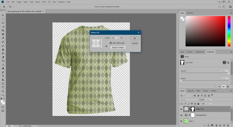 The pattern fill dialog in Photoshop.