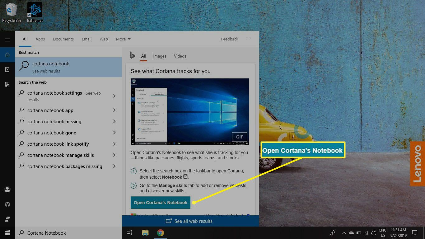Type Cortana notebook into the Windows search box and select Open Cortana's Notebook