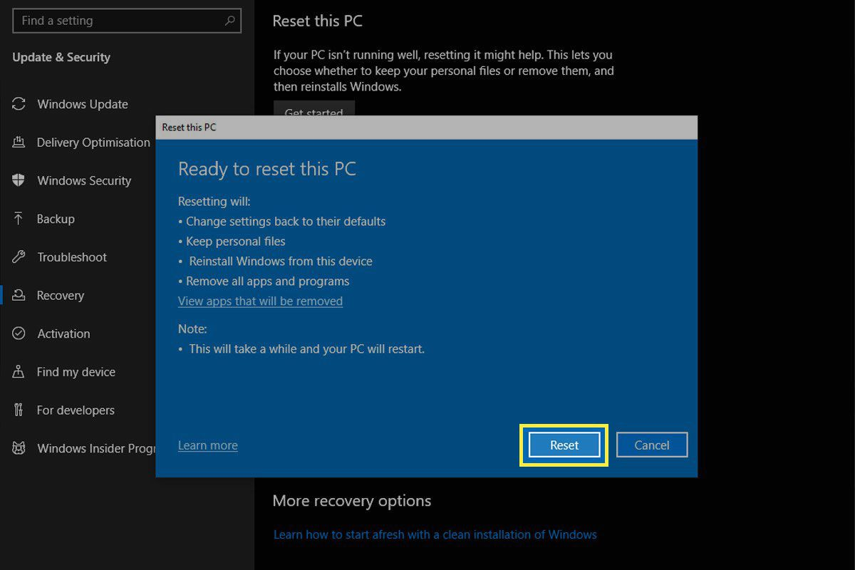 The final reset button in Windows 10.