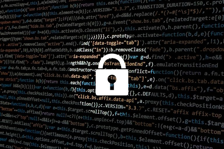 Lock graphic over a background of code.