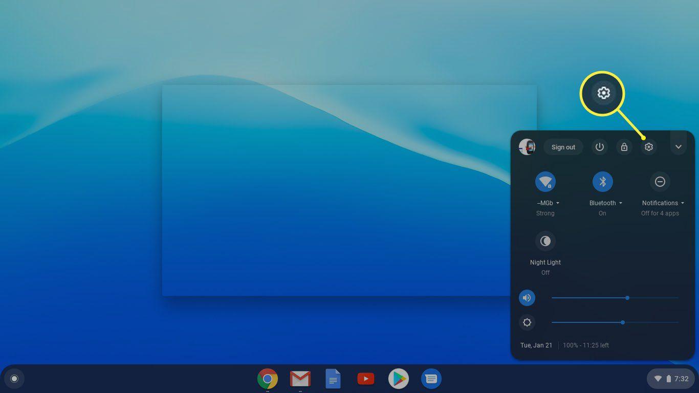 Chromebook gear icon