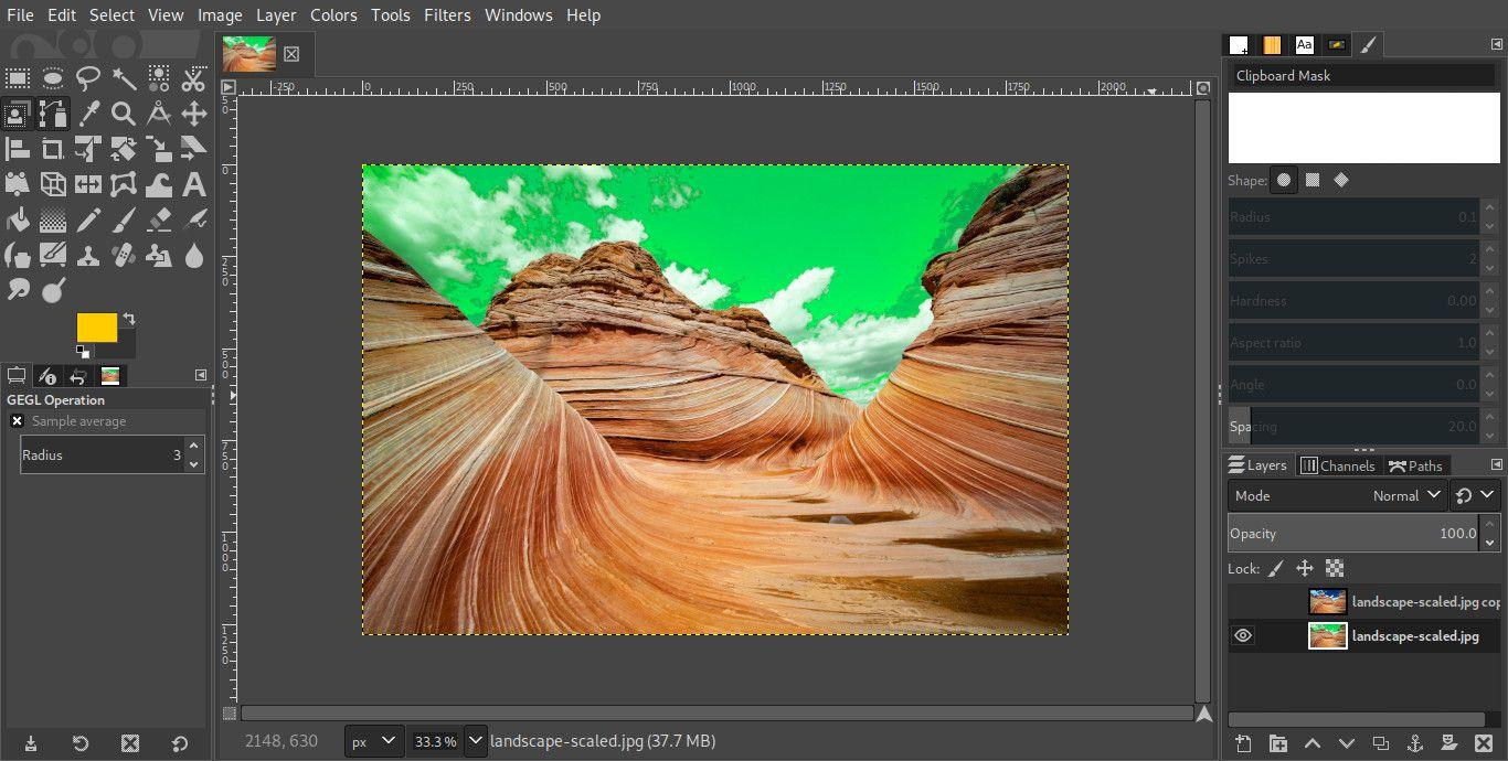 GIMP image edited background