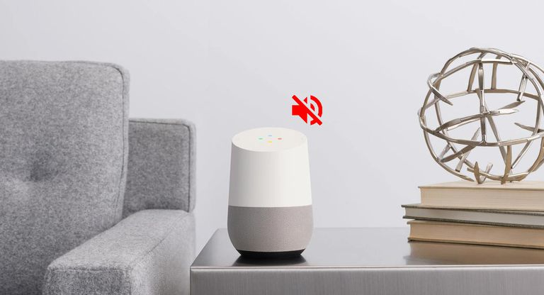 Google Home device with a red mute icon indicating an issue with the sound