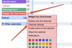Google Calendar - Click on Calendar Settings