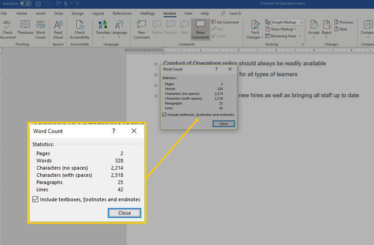 WOrd Count dialog box in Word