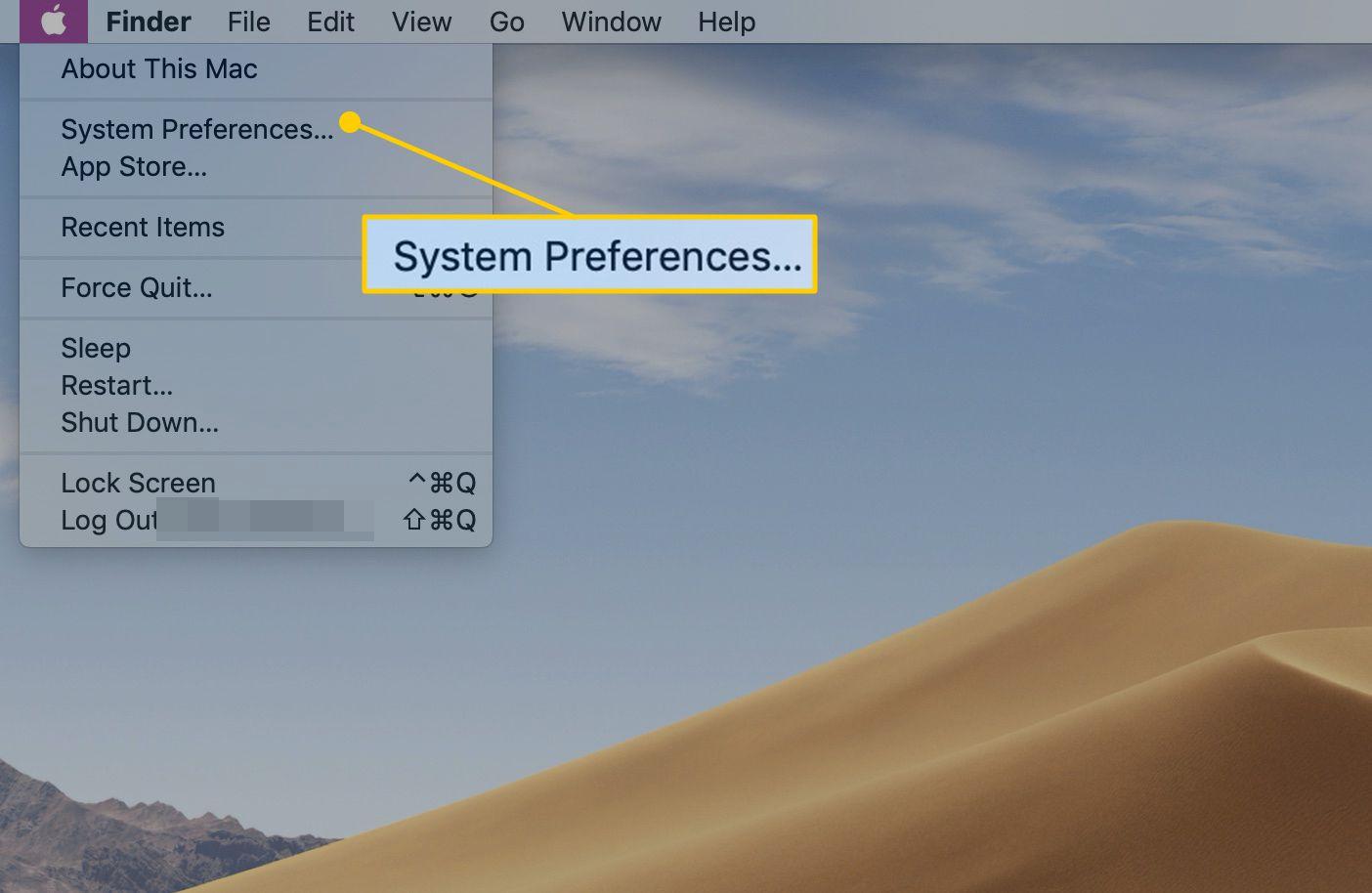 System Preferences menu item in macOS