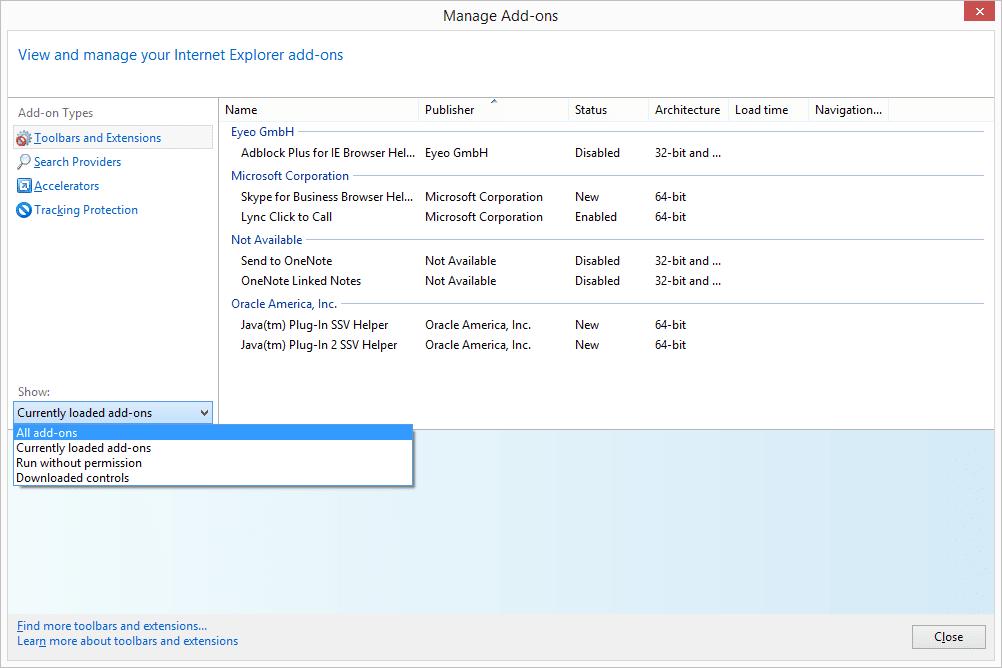All add-ons menu option in Internet Explorer