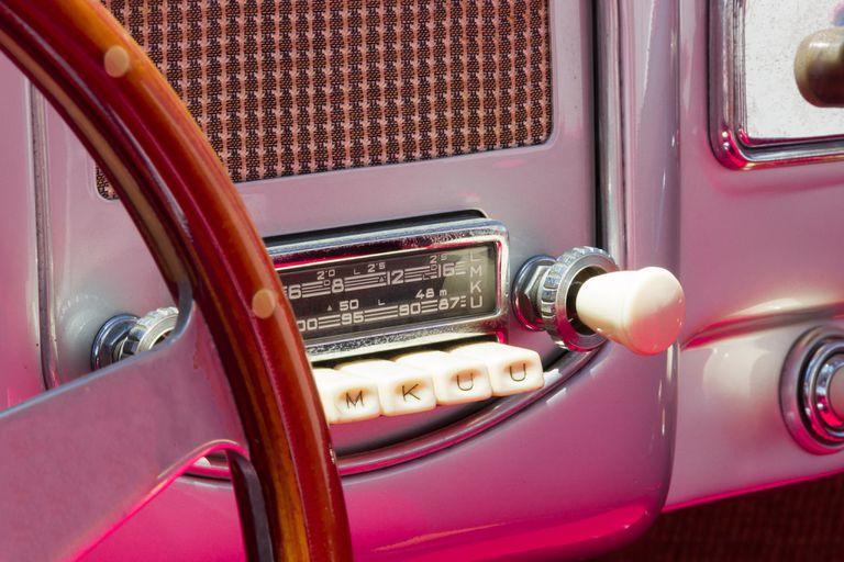 Close-Up Of Radio In Vintage Car