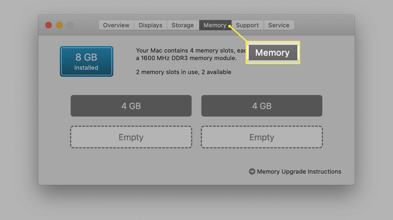 RAM informational screen on iMac