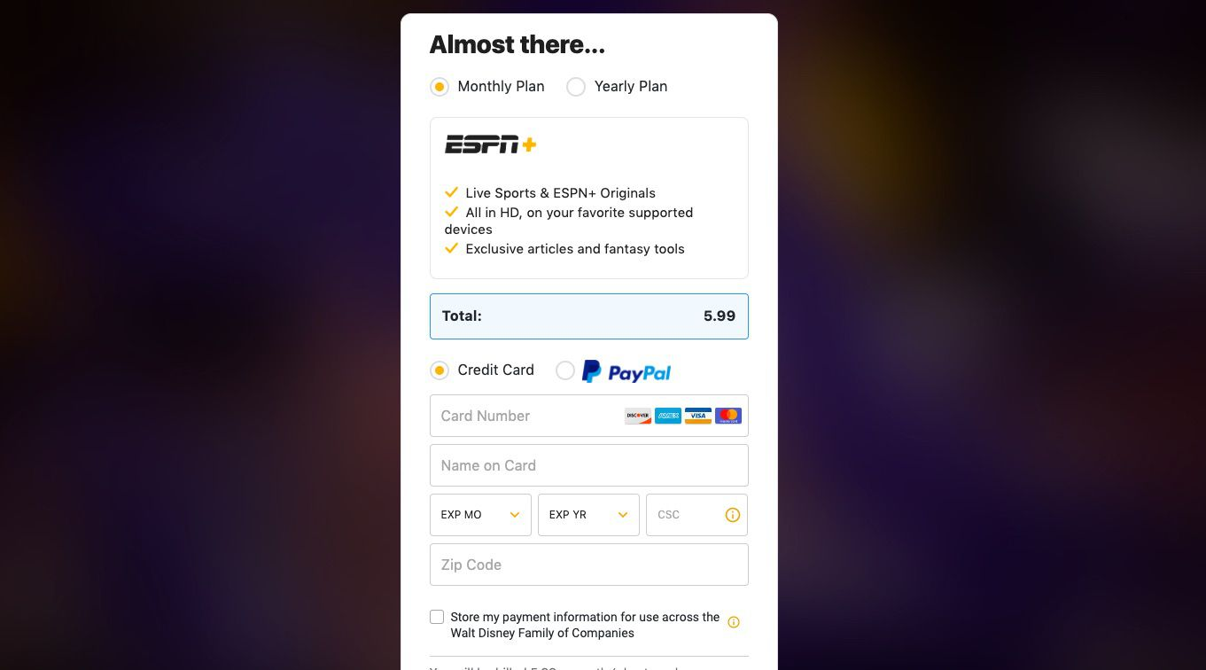 Enter your credit card info to buy ESPN+