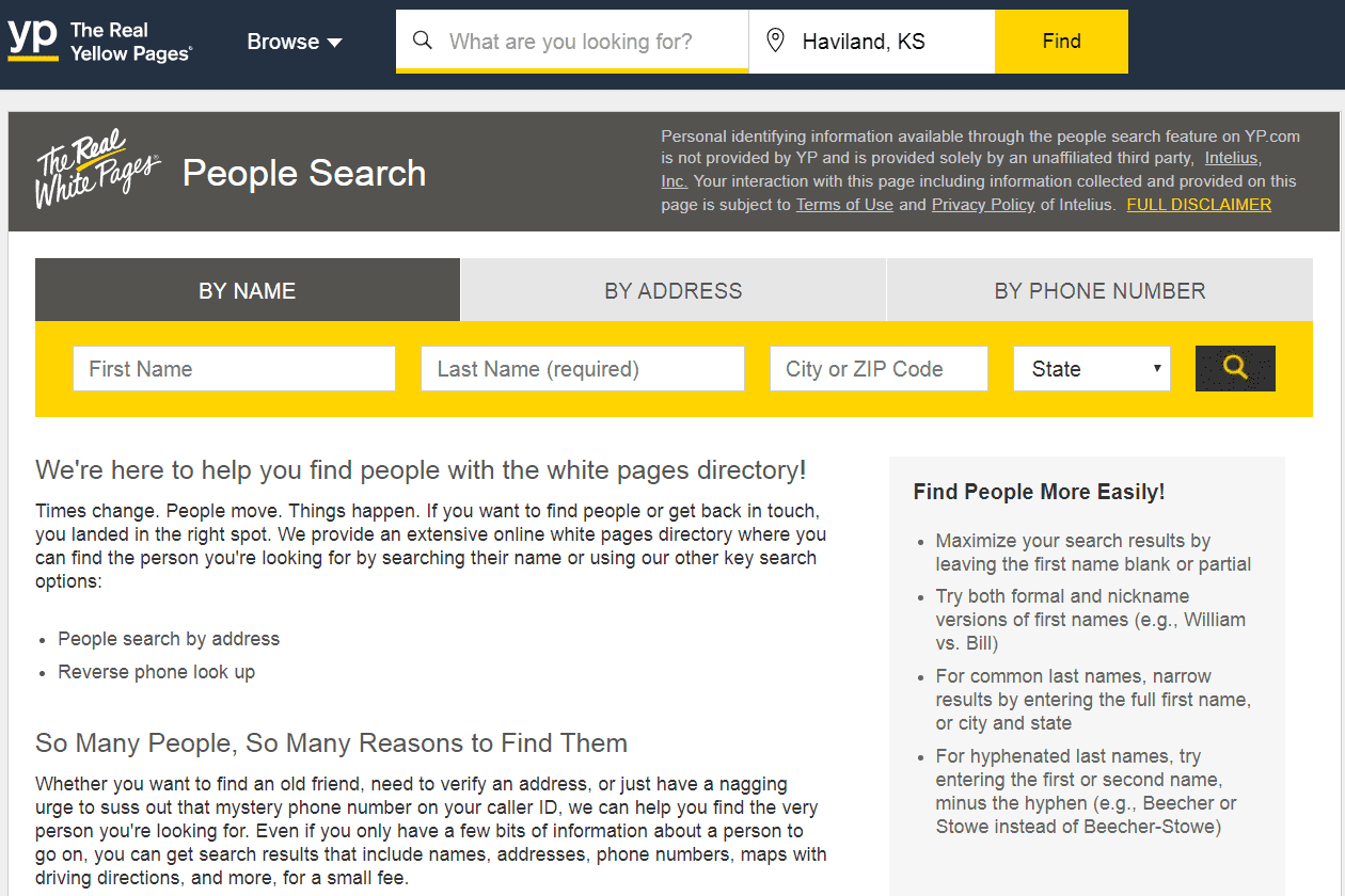 YP.com people finder search