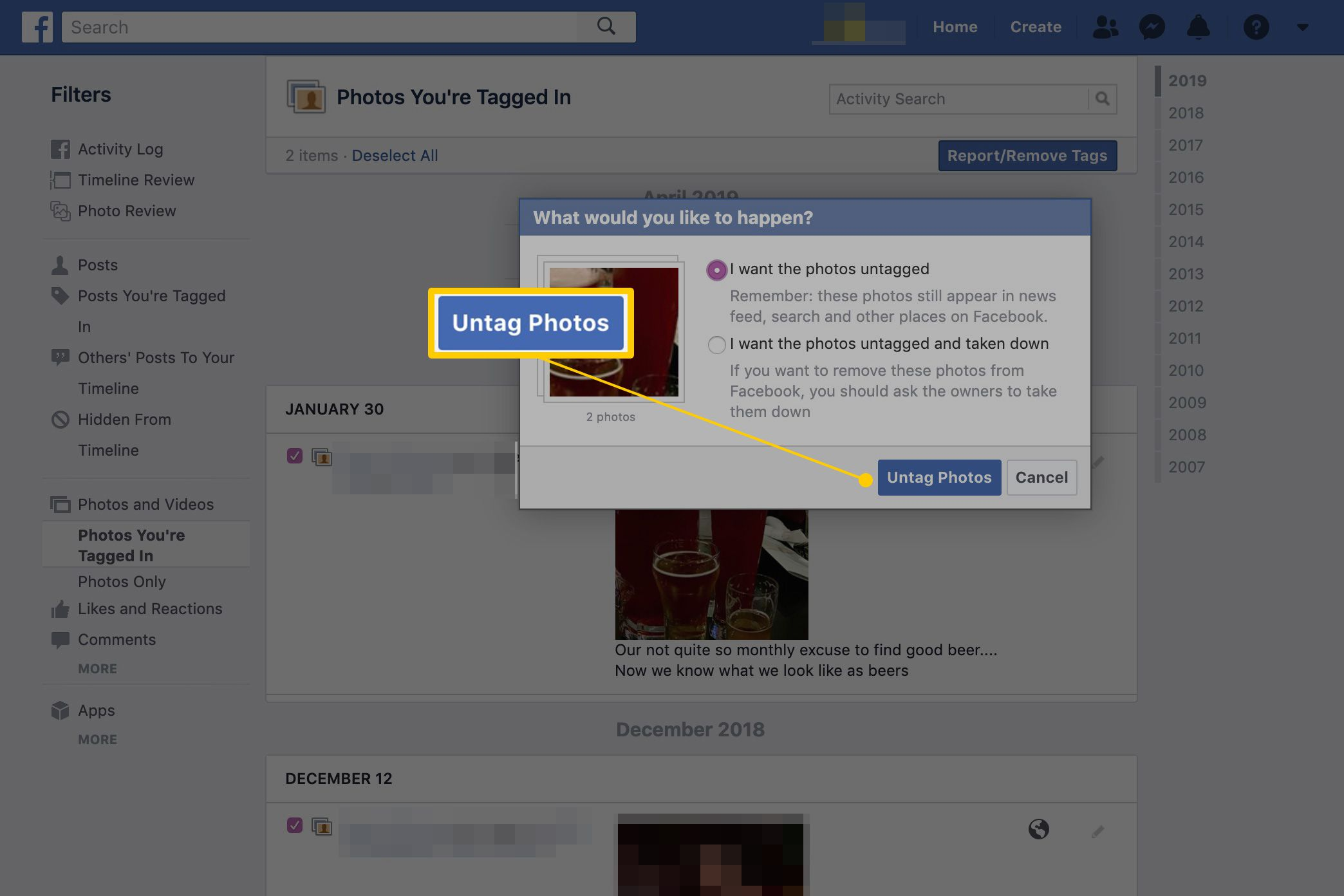 how to delete albums on facebook mobile