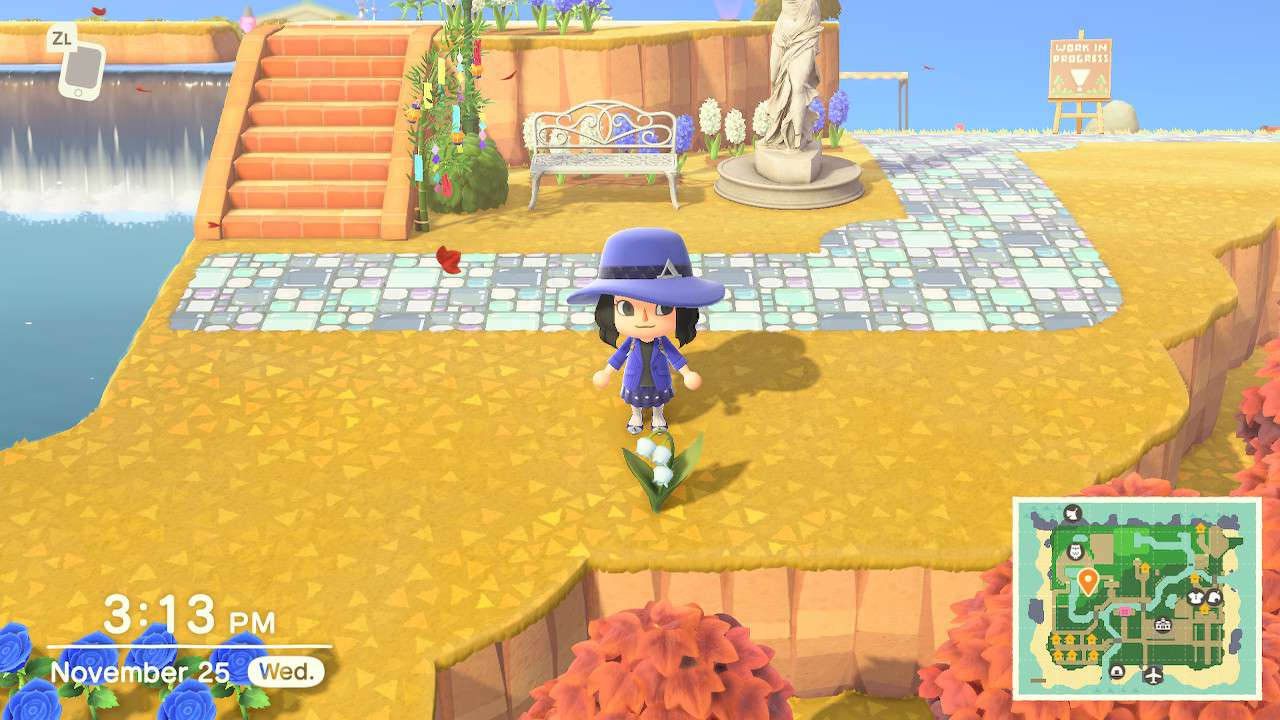 Animal Crossing character with Lily of the Valley flower