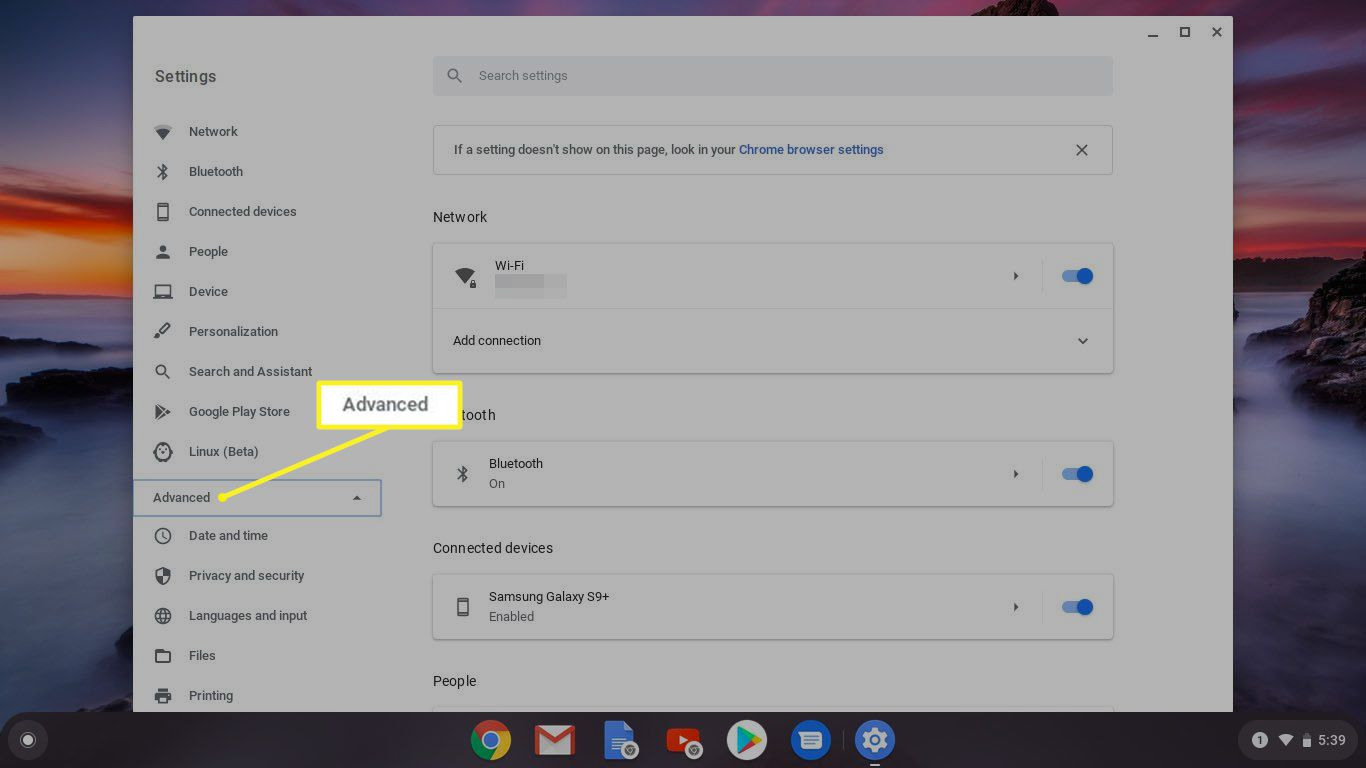 Chromebook Settings with Advanced highlighted