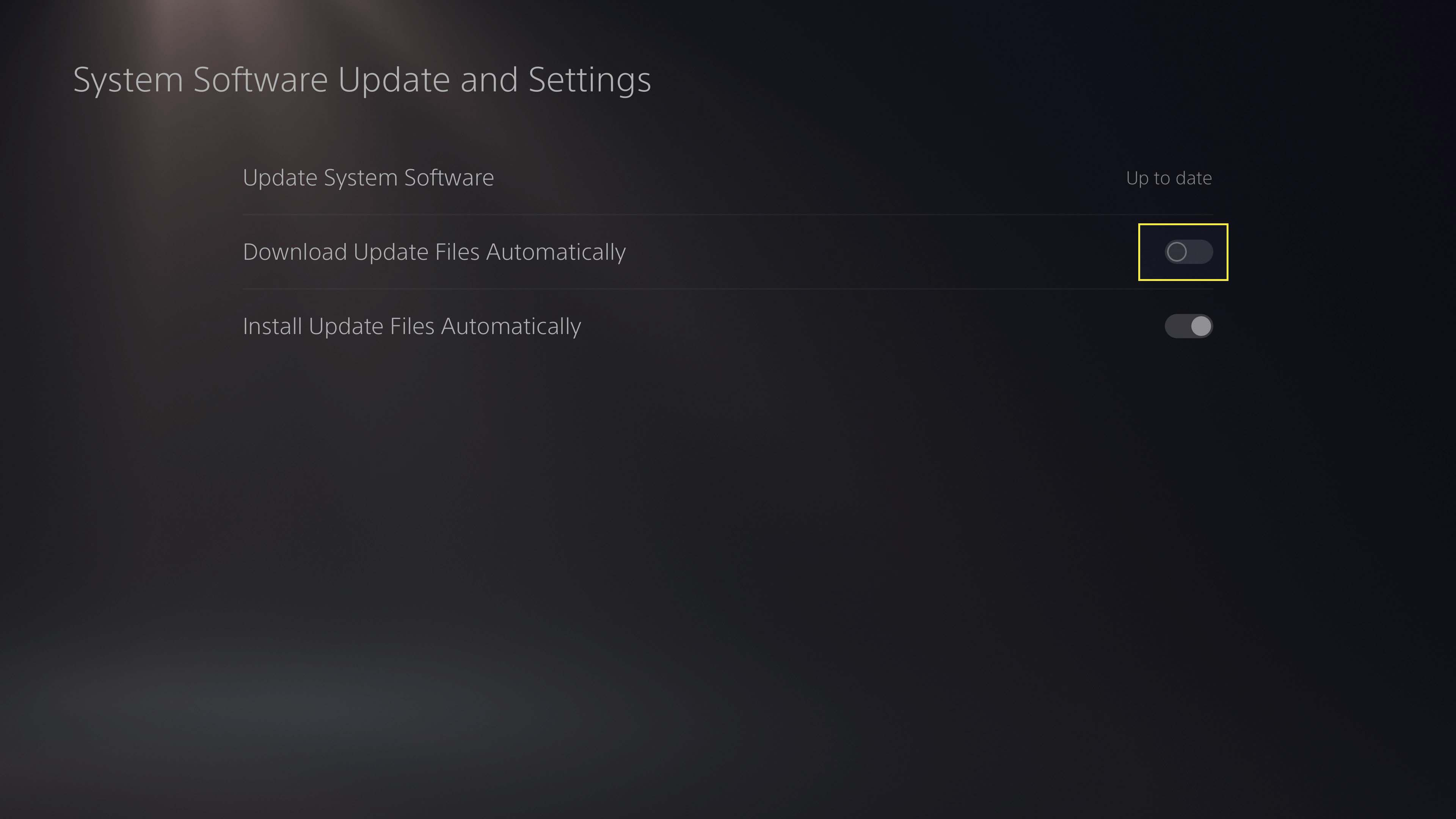 Turning off Download Update Files Automatically setting on PS5.