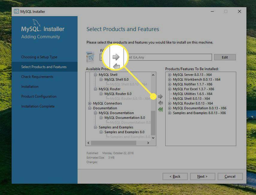 The right arrow in MySQL Installer