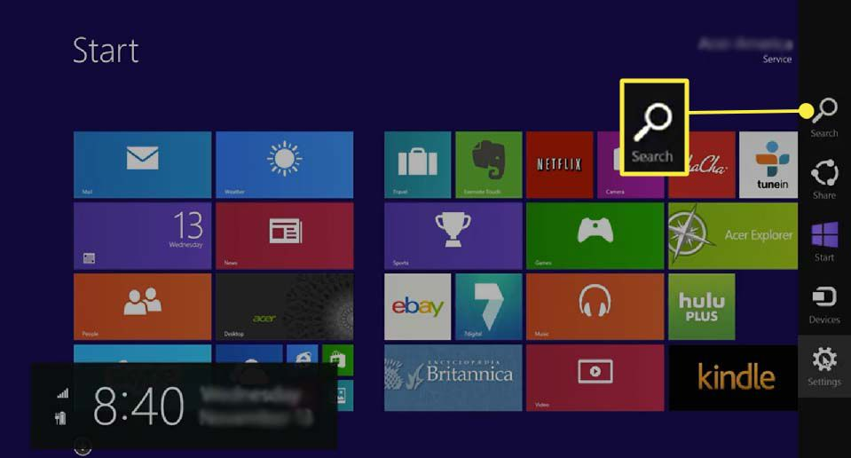 Accessing search bar in Windows 8.1.