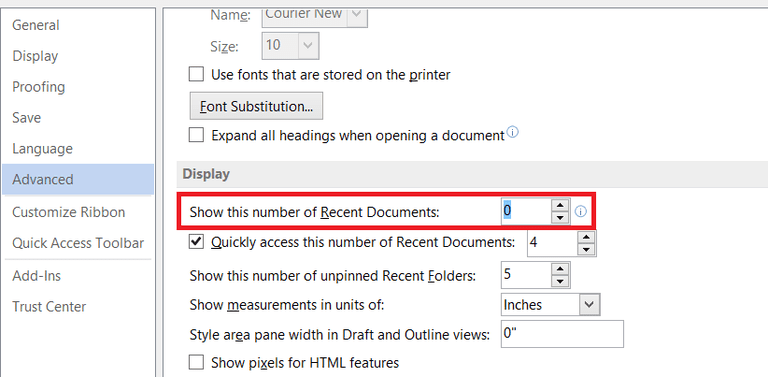 Microsoft 2016 Recently Used Documents Screenshot
