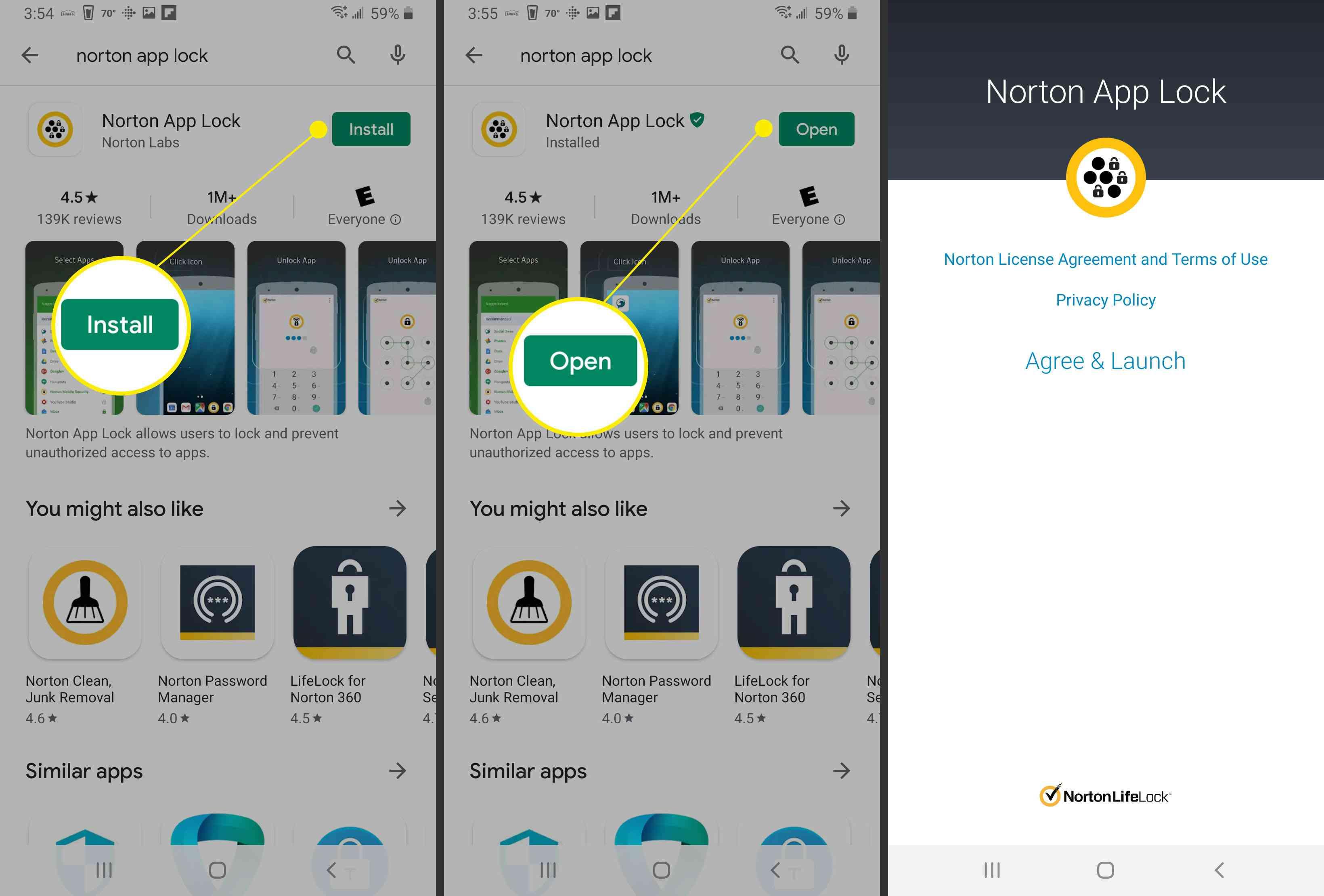 Installing and opening Norton App Lock.