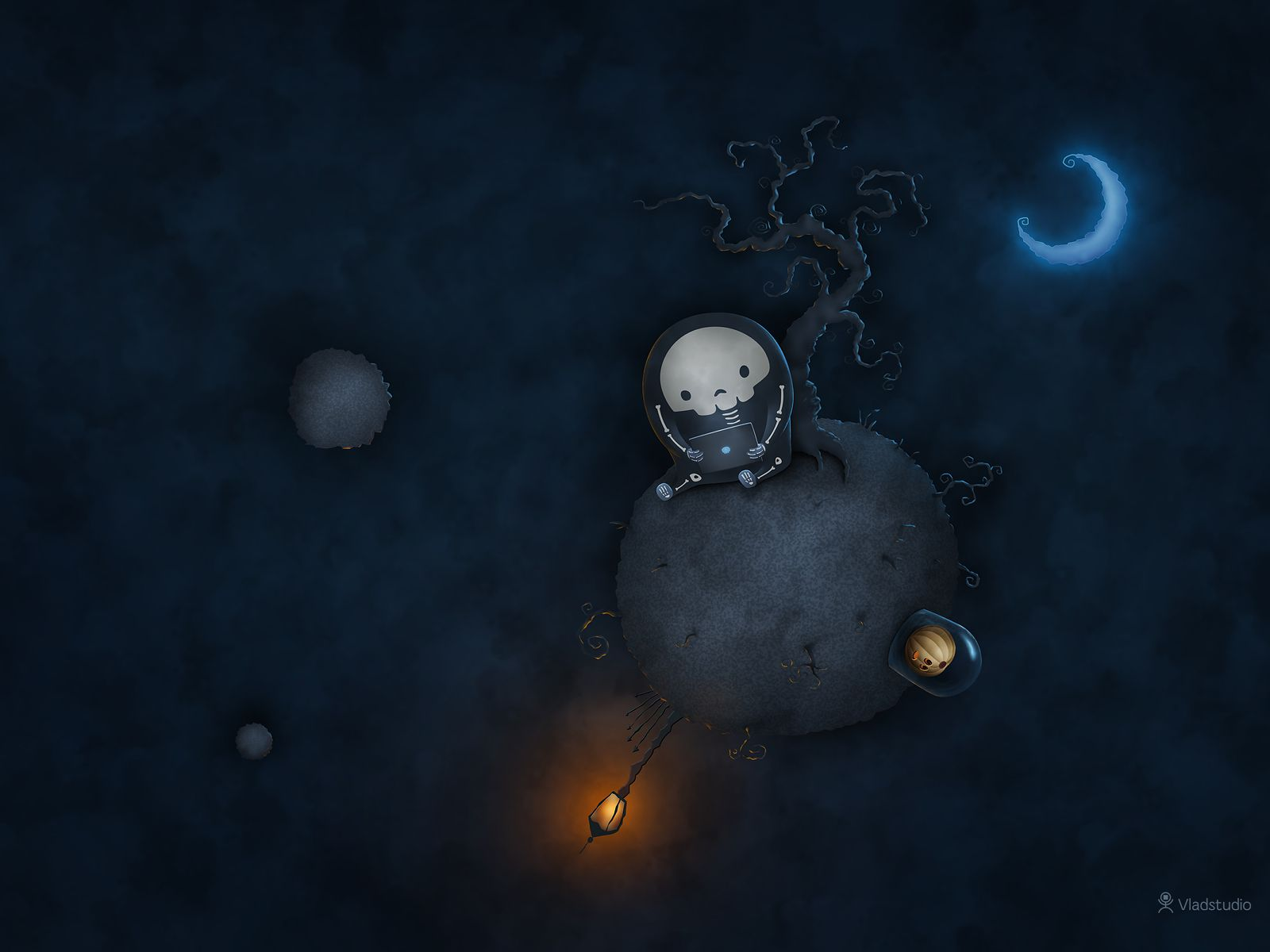 A skeleton by sitting on his own planet.