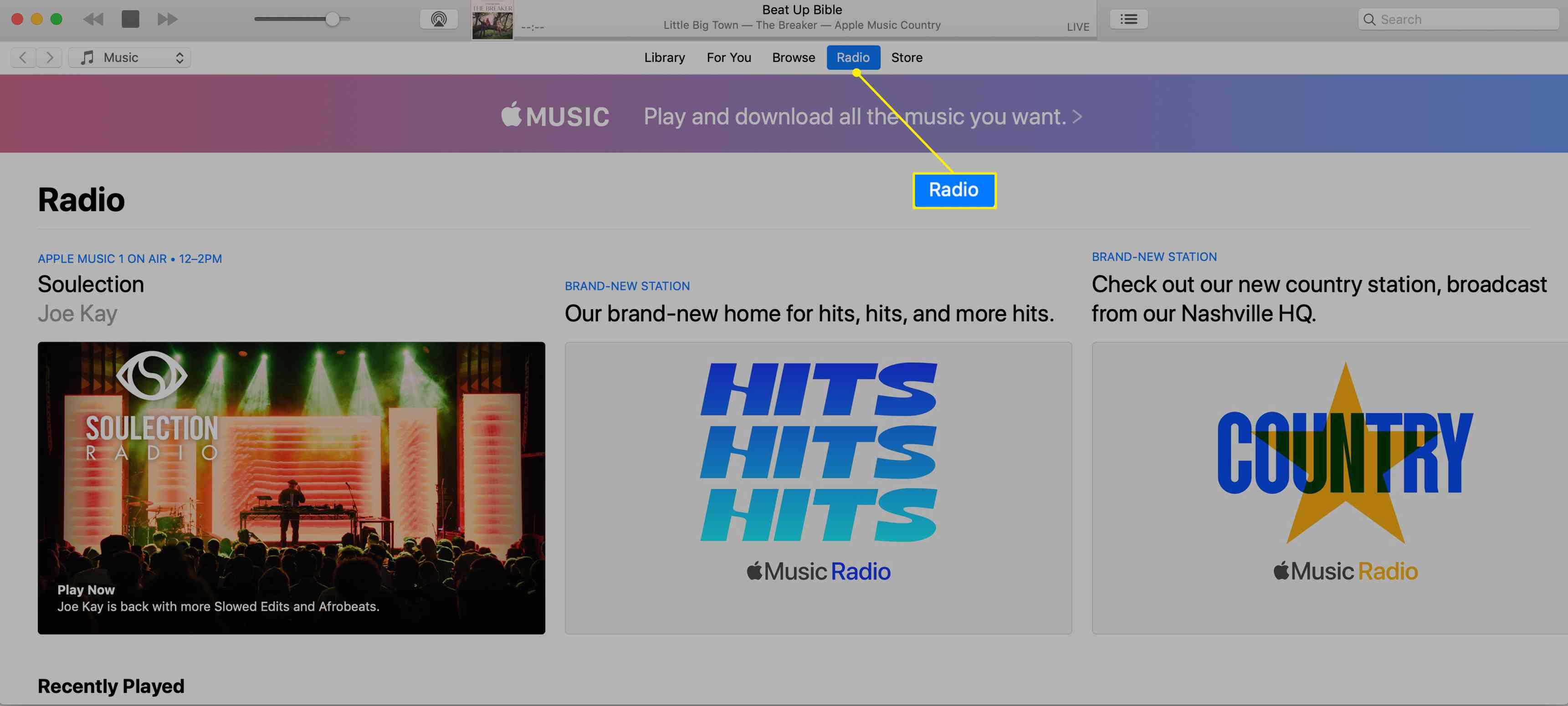 Apple Music Radio on iTunes with Radio highlighted