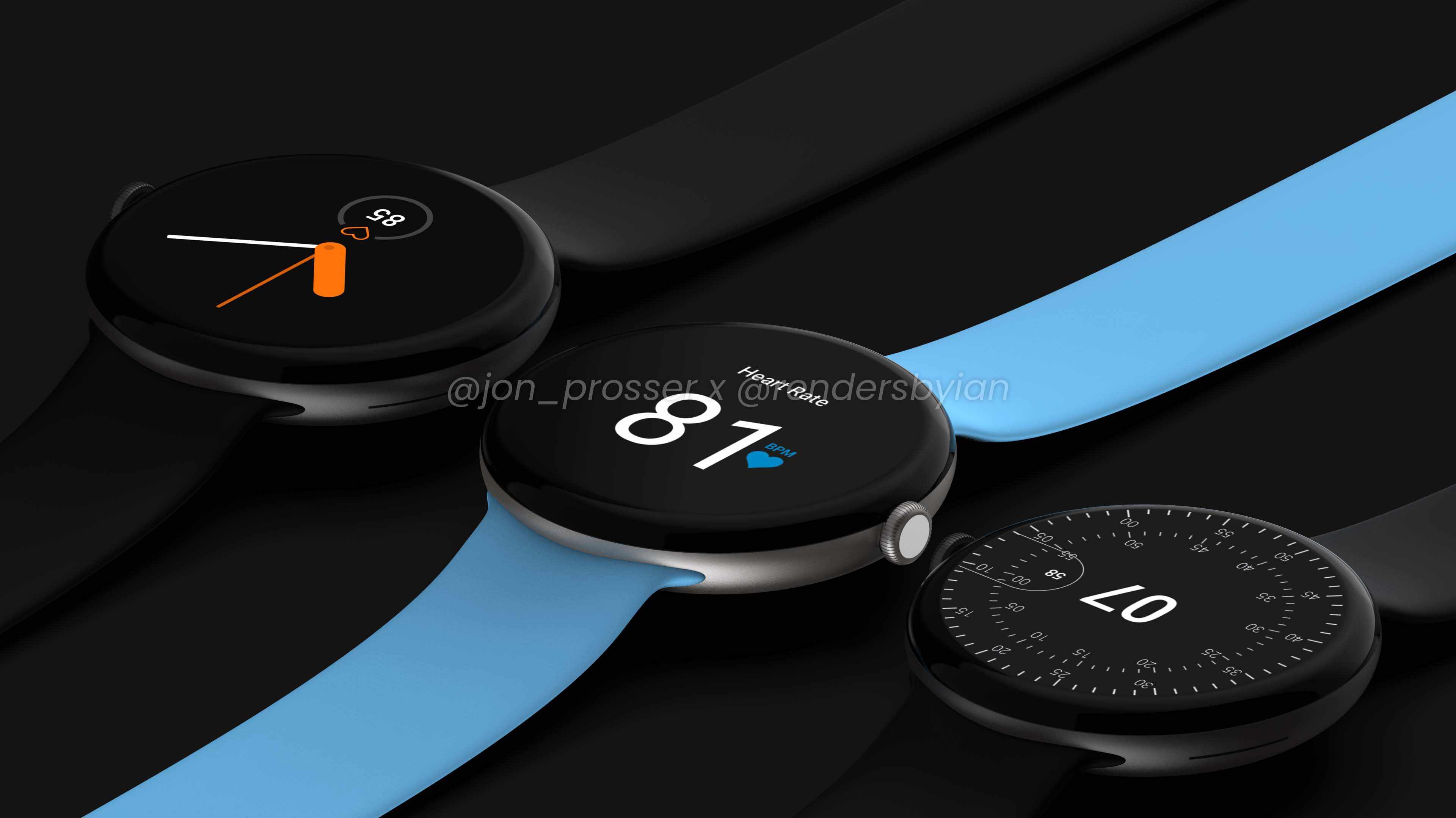 Google Pixel Watch renders in black and blue