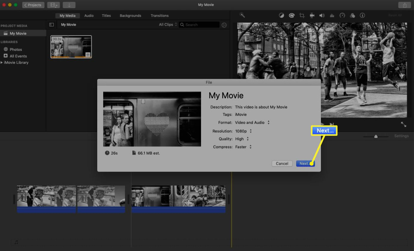 iMovie file export with the settings pop up menu.