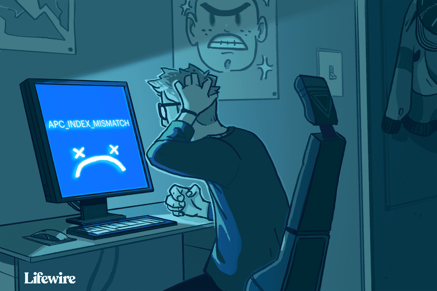 Illustration of a frustrated person with a blue screen of death and