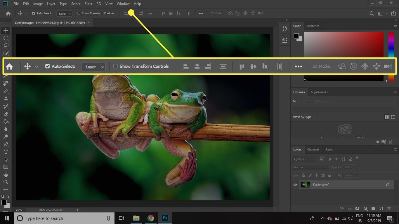 A screenshot of Photoshop with the Tool Options bar highlighted
